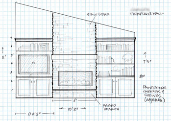 After lots of discussions, I did a scale drawing of the wall with the new fireplace and cabinets.