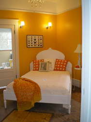 Here's the second bedroom with the sleeping porch. The room was decorated by Camas Antiques for the Holiday home Tour.