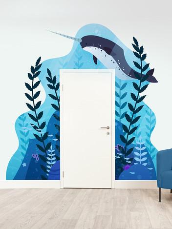 Narwhal Ocean Mural