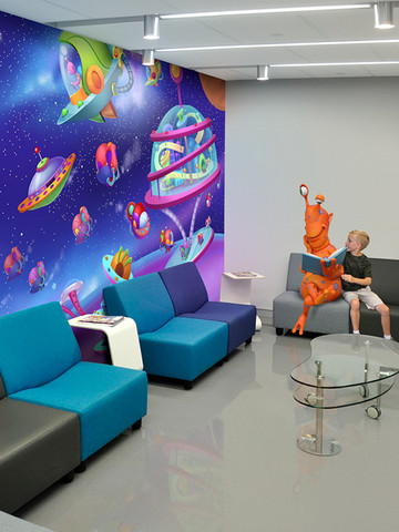 spaced themed waiting area