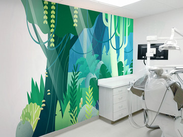 Contemporary Jungle Mural with Cutline