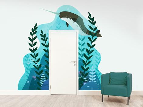 Underwater Narwhal Door Surround