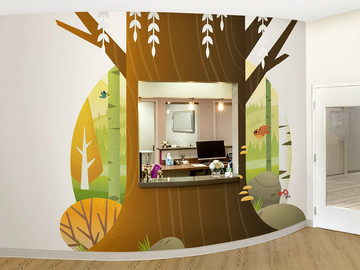 Contemporary CutOut Tree Mural