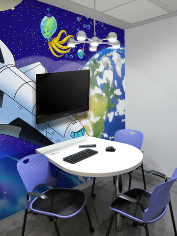 vinyl space themed waiting area