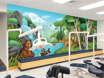 Illustrated Forest Kids Mural