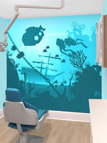 Underwater Silhouette Mural