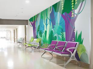Hospital Hallway Jungle Mural