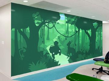 silhouette jungle mural