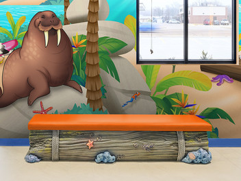 Custom Bench Seating with Beach Theme