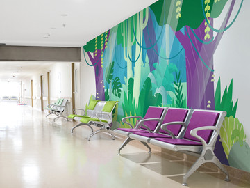 Purple and Green Themed Waiting Area