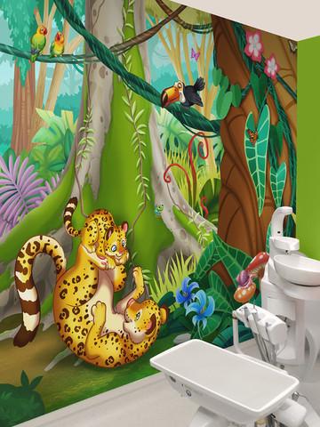 Illustrated Kids Jungle Mural