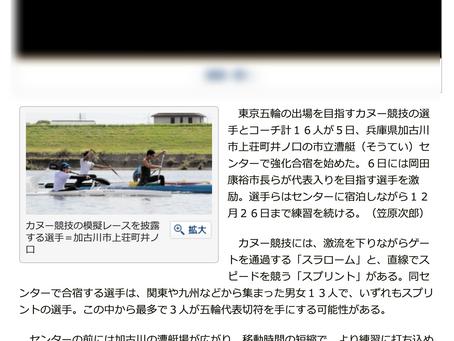 五輪目指しカヌー合宿 全国から男女13選手、スピード強化