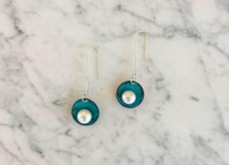 Oxidized Copper + Pearl Earrings
