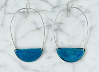 Oxidized Half Moon Earrings