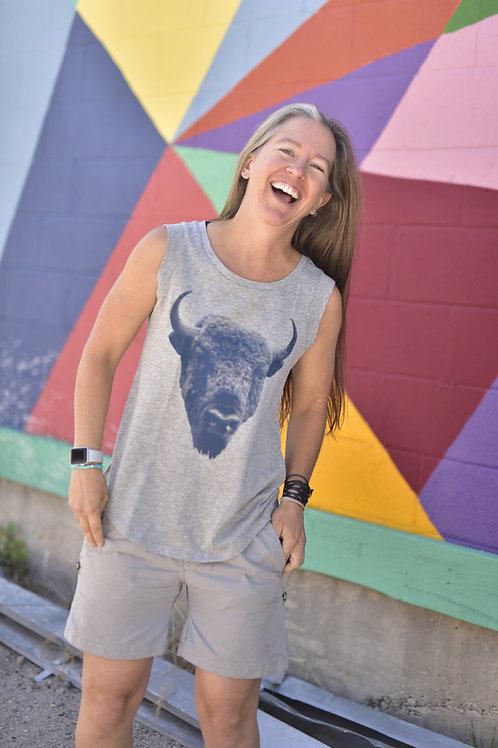 Bison Halftone Ladies T-Shirt