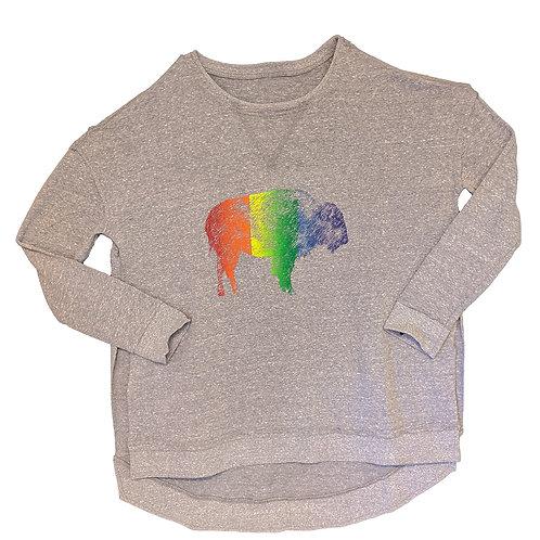Rainbow Bison Ladies Weekender Long Sleeve Sweatshirt
