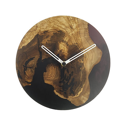 Olive wood n epoxy wall clock C24ol57