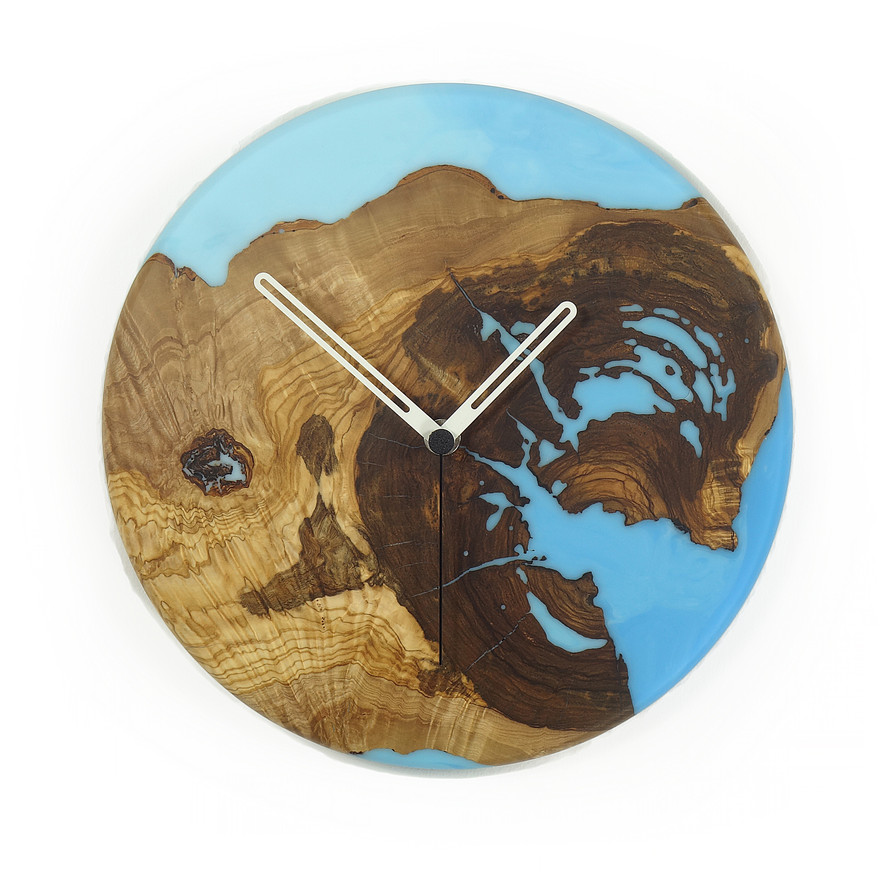 olive wood wall clock ligth blue c26ol01