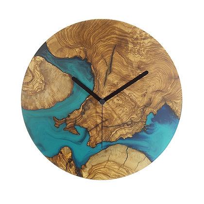 Olive wood n epoxy wall clock C30ol56