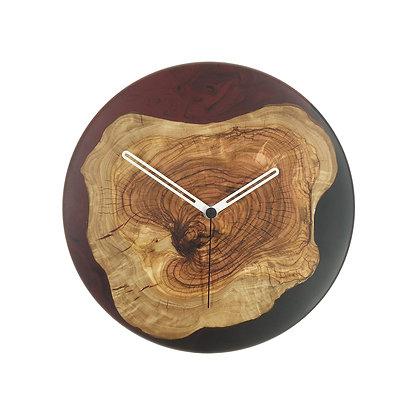 Olive wood n epoxy wall clock C26ol24