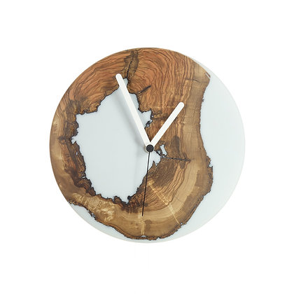 Olive wood n epoxy wall clock , c24a22