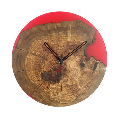 Olive wood n epoxy wall clock C26a37