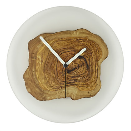 Olive wood and epoxy resin wall clock transparent