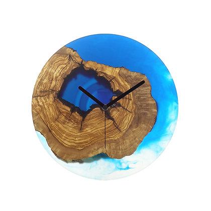 Olive wood n epoxy wall clock C30ol70