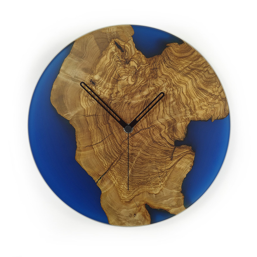 1deep blue olive and epoxy wall clock c2