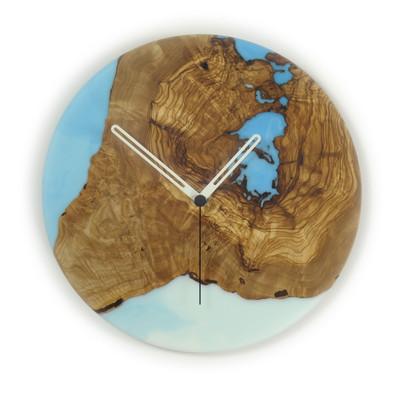 olive and epoxy wall clock sky blue c26o