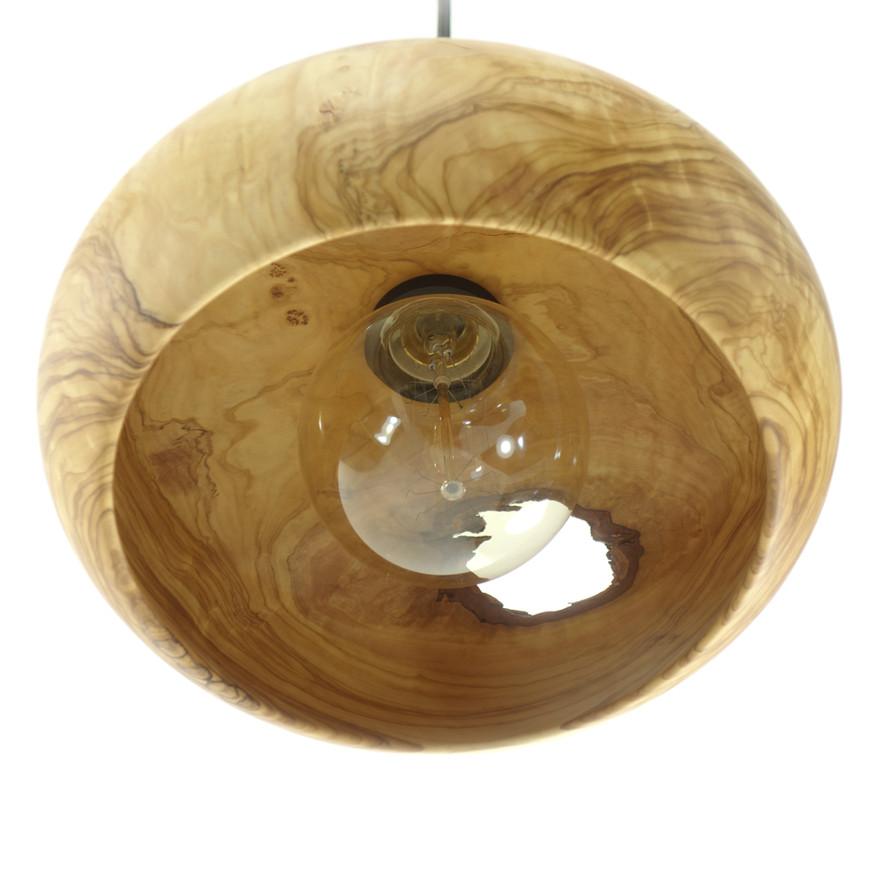 olive wood ceiling light handmade in gre