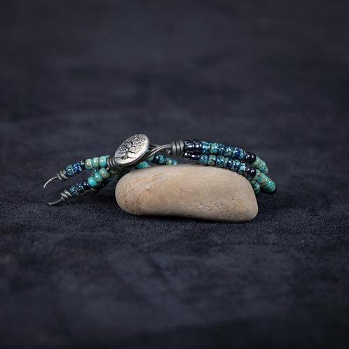 """Lederen armband """"Enghien Plage"""" Breezy Blue"""