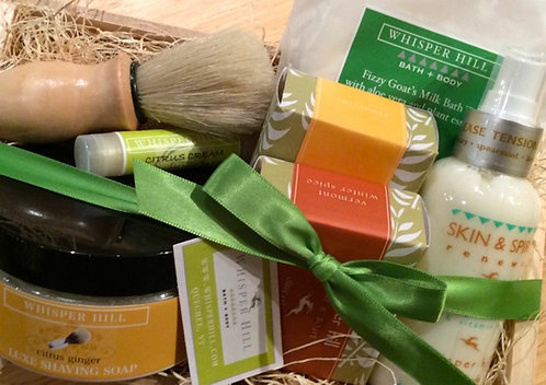Natural bath products gift crate for him and her.
