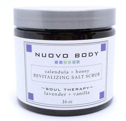 lavender salt scrub with calendula and honey