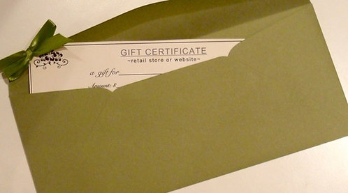 Gift certificate for natural bath and body products