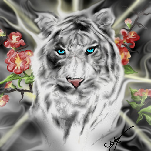 The Gaurdian White Tiger Print 8 x 10