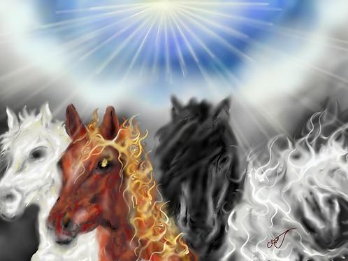 4 Horsemen Horses Blanket 50 x 60
