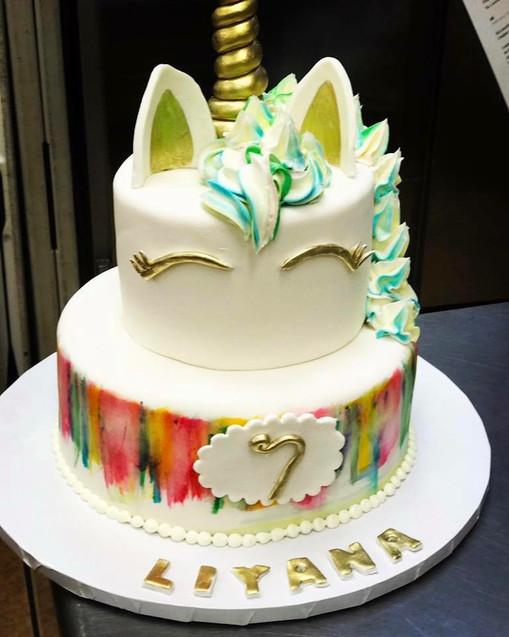 Unicorn 7th birthday cake