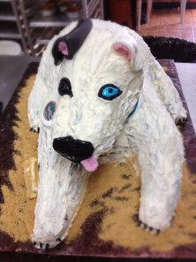 3-D sculpted dog grooms cake