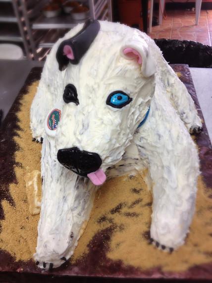 3-D sculpted dog grooms cake