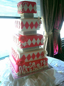 White Pink and Silver Quincenera Cake