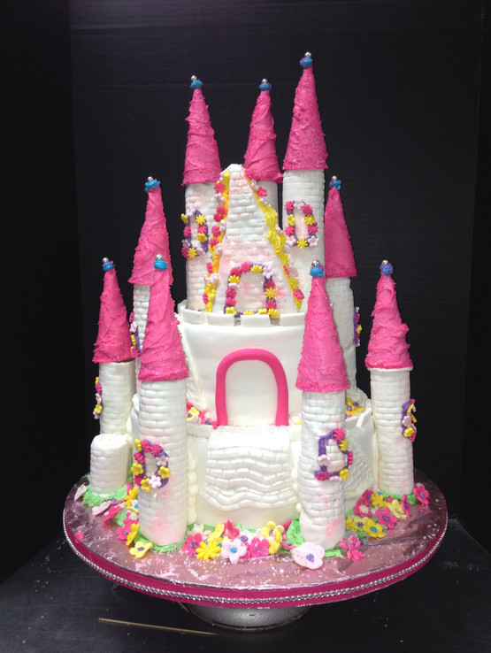 Pink and White Princess Castle Cake