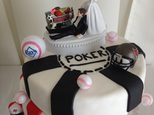 Poker sports grooms cake