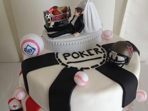 Poker sports grooms cake