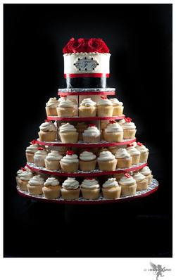 Red & Black Wedding Cupcakes