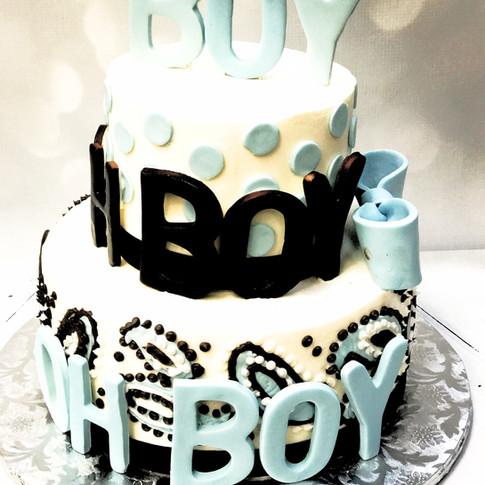 Oh Boy Paisley baby shower cake