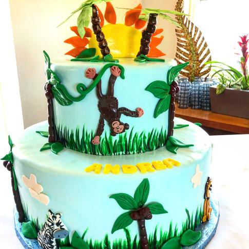 Jungle Monkey baby shower cake