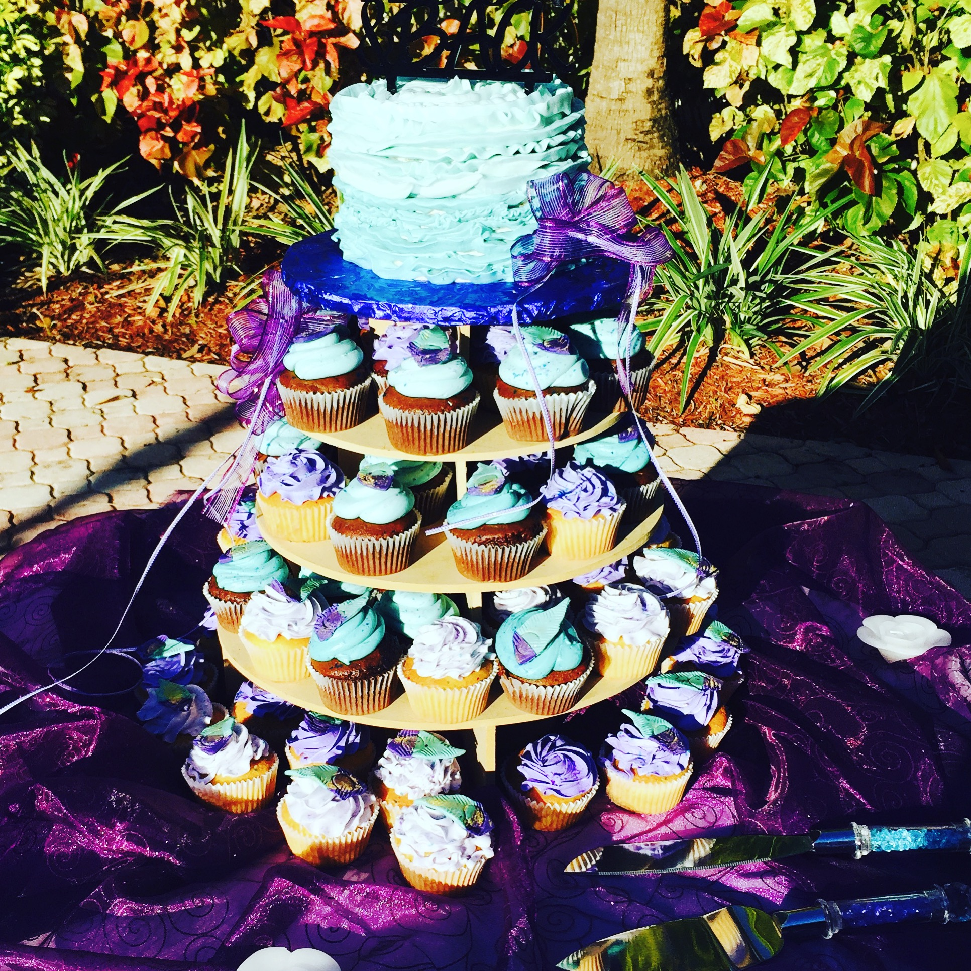 Purple and Blue Wedding Cupcakes