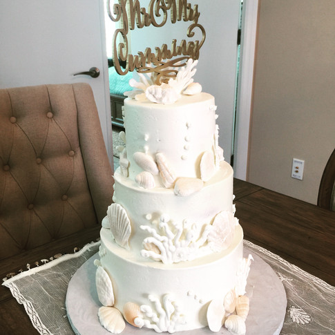 Florida Seashell Wedding Cake