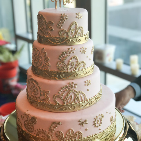 Pink and Gold Indian Wedding Cake